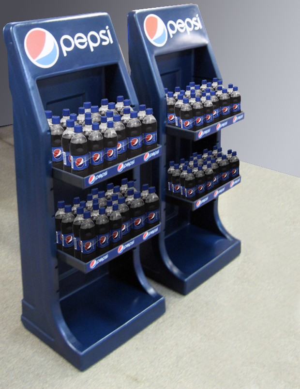 pepsi merchandising shelf with product